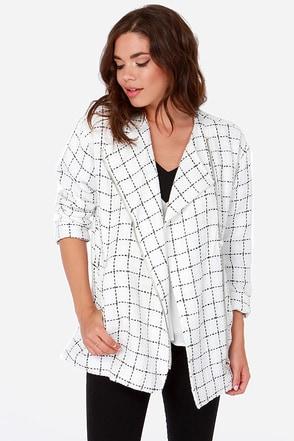 cool black and white jacket oversized jacket boucle jacket