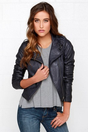Black Swan Heart Midnight Blue Vegan Leather Jacket at Lulus.com!