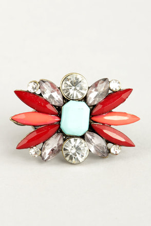 Bright About Now Red Rhinestone Ring