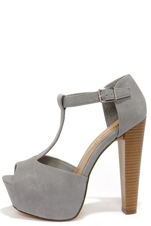 Care for a Lift? Grey T-Strap Peep Toe Platform Heels at Lulus.com!