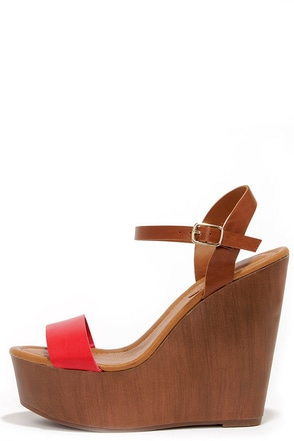 High Jinks Cherry Red and Tan Platform Wedge Sandals at Lulus.com!