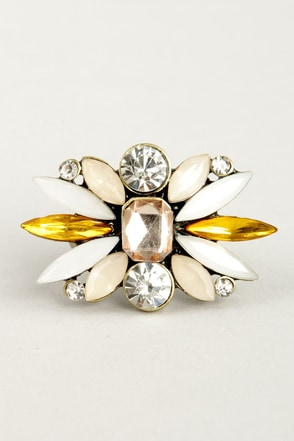 Bright About Now Yellow Rhinestone Ring