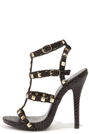 Blingin' Sexy Back Black Snakeskin Studded Caged Heels at Lulus.com!