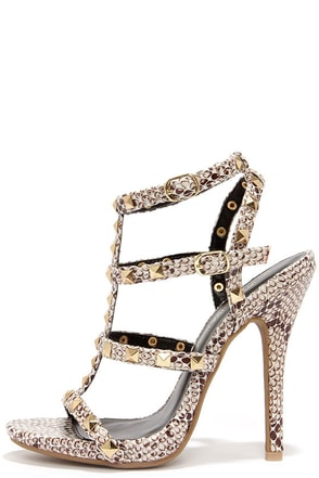 Blingin' Sexy Back Nude Studded Caged Heels at Lulus.com!