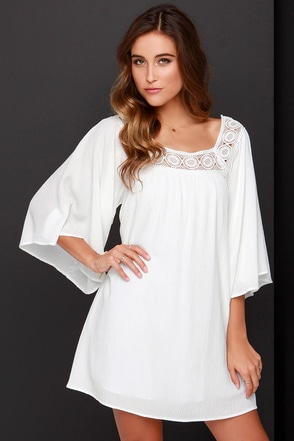 Dee Elle Seaside Sweetie Ivory Shift Dress at Lulus.com!