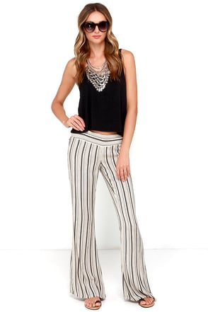 O'Neill Benny Black and Cream Striped Pants at Lulus.com!