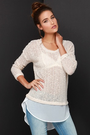 Snuggle Up Beige High-Low Sweater Top at Lulus.com!
