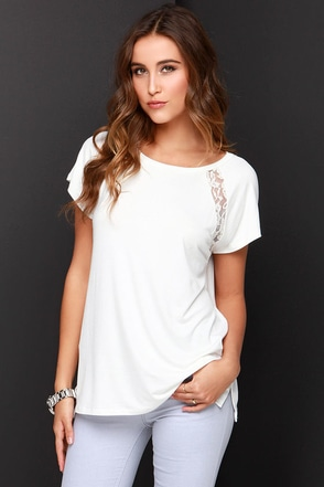 Lace to Be Ivory Lace Tee at Lulus.com!