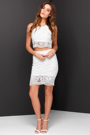 Double Time Light Blue Lace Two-Piece Dress at Lulus.com!