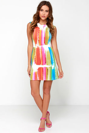 Black Swan Splash Ivory Print Dress at Lulus.com!