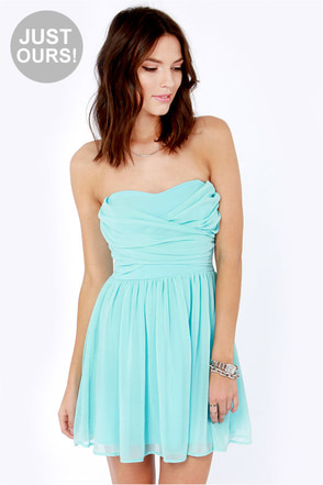 LULUS Exclusive Sash Flow Strapless Light Blue Dress