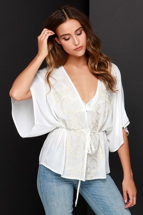 Sweet Sunshine Ivory Embroidered Kimono Top at Lulus.com!
