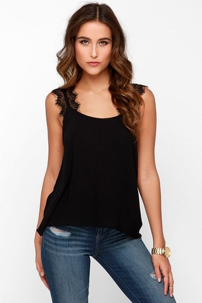 For Sienna Don�t Blink Black Tank Top at Lulus.com!