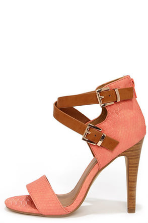 Latest and Greatest Salmon and Tan Snakeskin Ankle Strap Heels at Lulus.com!