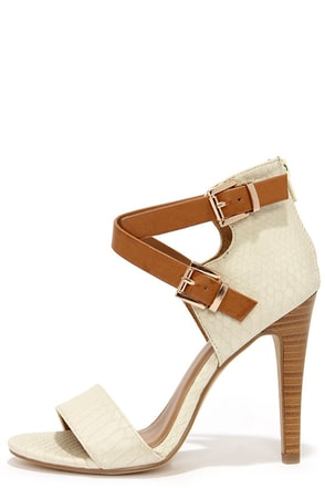Latest and Greatest Beige and Tan Snakeskin Ankle Strap Heels at Lulus.com!