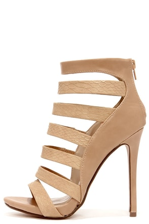 Dance Floor Takeover Taupe and Tan Snakeskin Shootie Heels at Lulus.com!