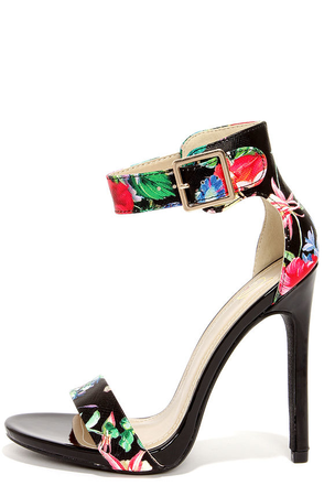 My Delicious Canter Black Floral Print Ankle Strap Heels at Lulus.com!