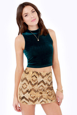 Sweet City Woman Dark Teal Velvet Crop Top