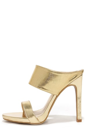 Fan of Glam Gold Lizard Peep Toe Mules at Lulus.com!
