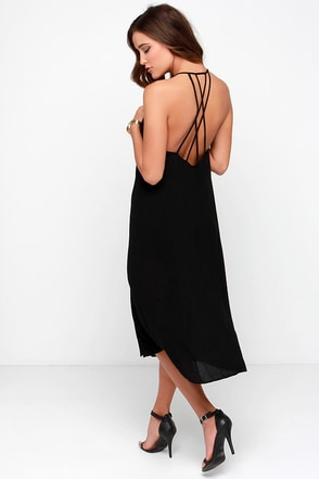 Strappy Medium Black Midi Dress at Lulus.com!