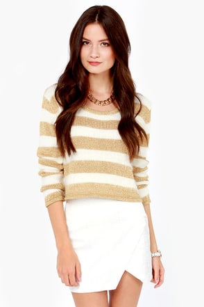 Mink Pink Gee Whizz Ivory and Gold Crop Sweater