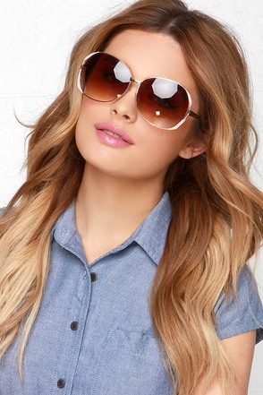 Lens Dance Gold and Blush Sunglasses at Lulus.com!