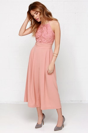 Keep Your Culottes Lace Blush Pink Midi Jumpsuit at Lulus.com!