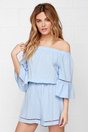 Songbird Light Blue Off-the-Shoulder Romper at Lulus.com!
