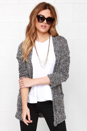 Obey Shelter Heather Grey Cardigan Sweater at Lulus.com!