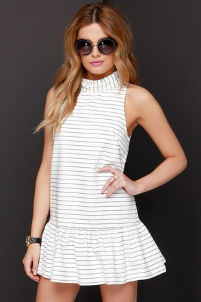 The Fifth Label River City Black and Ivory Striped Dress at Lulus.com!