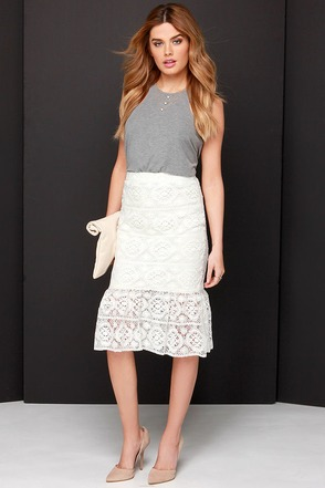 My Fair Daisy Ivory Lace Skirt at Lulus.com!