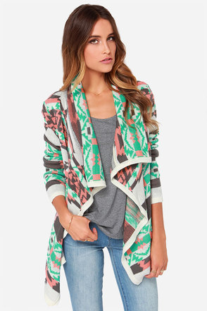 Southwest-ing Game Peach Print Cardigan Sweater