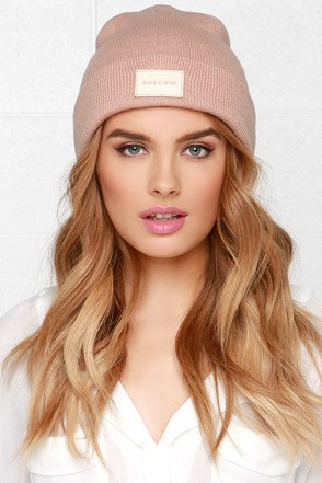 Obey Essex Blush Beanie at Lulus.com!