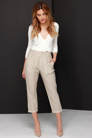 One Liner Brown and Cream Striped Pants at Lulus.com!