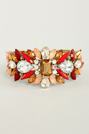 Catching Fire Red Rhinestone Cuff