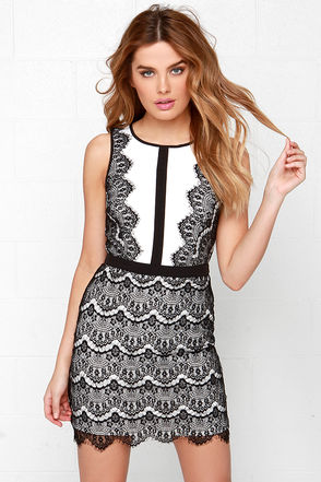 Act the Part Beige and Black Bodycon Lace Dress at Lulus.com!