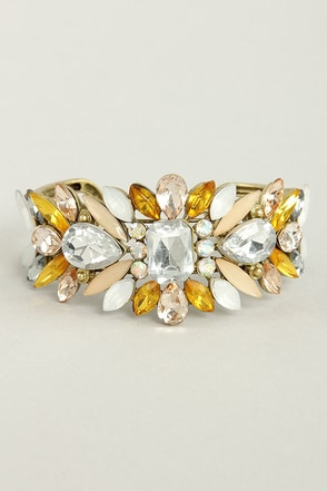 Catching Fire Yellow Rhinestone Cuff