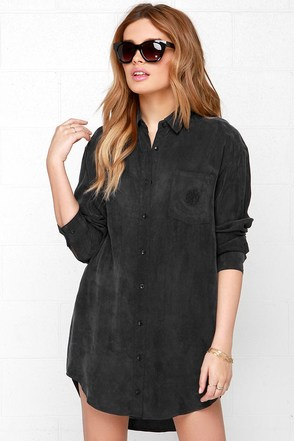 Obey Risky Business Washed Black Shirt Dress at Lulus.com!