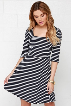 Sugarhill Boutique Marcia Ivory and Navy Blue Striped Dress at Lulus.com!