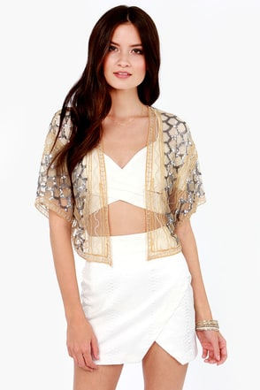Cute Gold Top Kimono Top Sequin Top Beaded Top 84 00