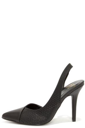 Lounge Slinger Black Snakeskin Slingback Heels at Lulus.com!