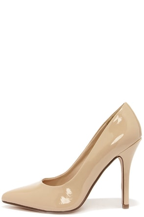My Delicious Date Beige Patent Pointed Pumps at Lulus.com!