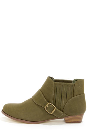 Paco 1 Khaki Belted Ankle Boots