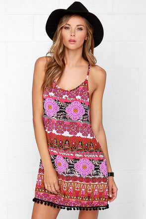 Lucy Love Pool Party Fuchsia Print Dress at Lulus.com!