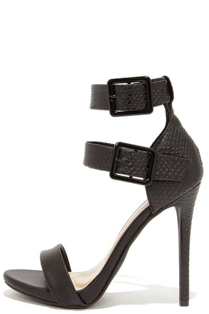 Double Down Black Snakeskin Ankle Strap Heels at Lulus.com!