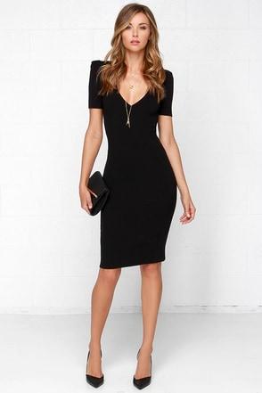 Knit Gets Better Black Midi Dress at Lulus.com!