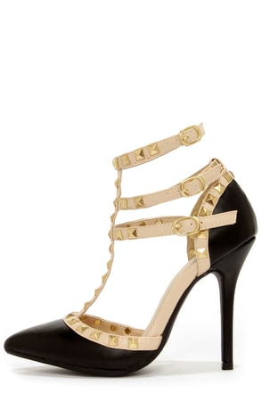 Wild Diva Lounge Adora 55 Stone Studded T-Strap Pointed Heels at Lulus.com!