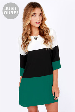 LULUS Exclusive Citrus Grove Black and Dark Teal Shift Dress