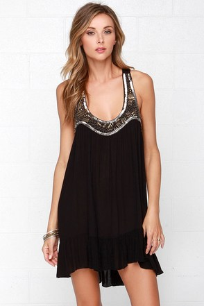 Wants and Beads Black Beaded Shift Dress at Lulus.com!