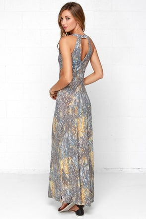 RVCA Outer Reaches Grey Print Maxi Dress at Lulus.com!